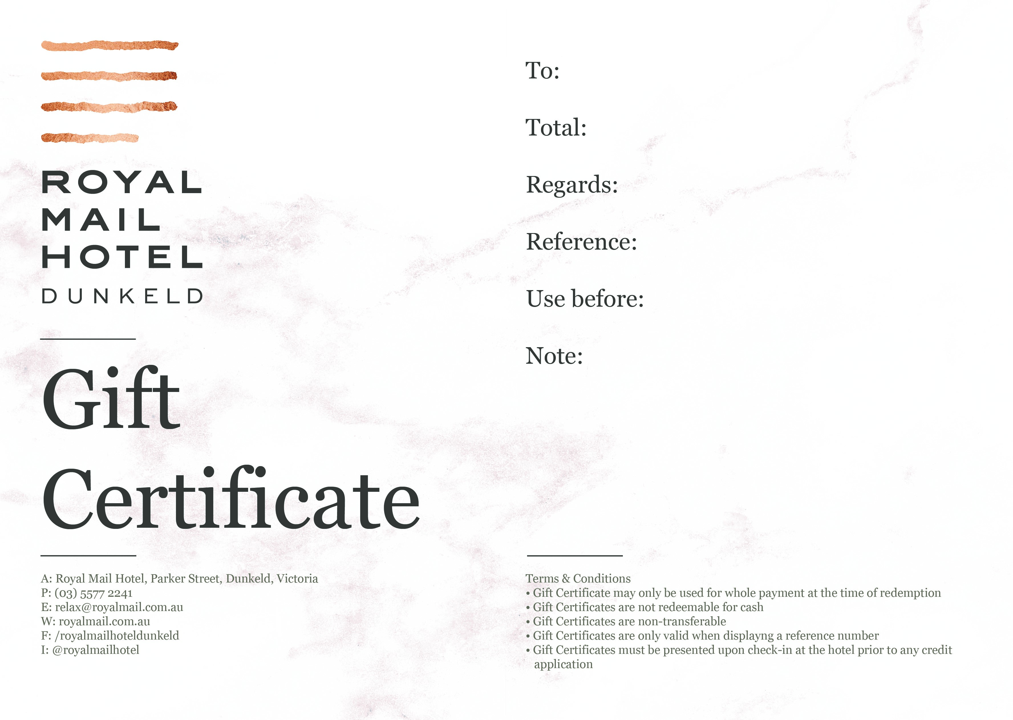 Gift certificate royal mail hotel dunkeld voucher image negle Images